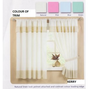 Kerry Natural Linen Look With Pelmet Attached Net Curtain 2 Curtains