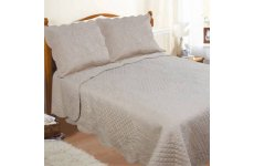 COFFEE  SCALLOPED SCROLL EMBOSSED  QUILTED BEDSPREAD