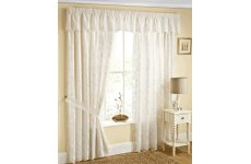 FELICITY LACE NATURAL LINED CURTAINS  WITH TIE BACKS VALANCE  SOLD SEPARATE
