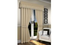 LORNA CREAM  VOILE LINED CURTAINS WITH MACRAME LACE PELMET NOT INCLUDED