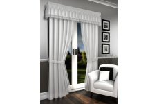 LORNA WHITE VOILE LINED CURTAINS PELMET SOLD SEPARATE