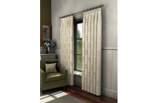 FLORENCE CRUSHED CREAM VOILE LINED CURTAINS  WITH LEAF MOTIF ONE SIZE ONLY  46 INCHES WIDE X 72 drop