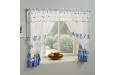 WAREHAM BLUE WINDOW  SET COMPLETE WITH VALANCE