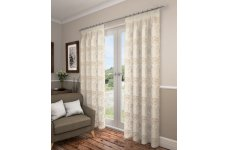 SWINDON CREAM VOILE WITH GOLD DESIGN LINED CURTAINS