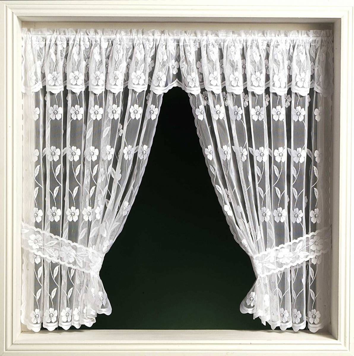 Jalipur window set priced per curtain white or cream for Window net curtain