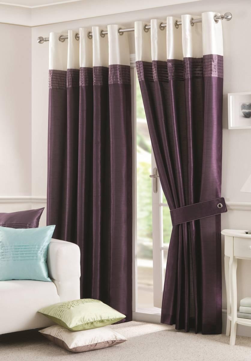 Sorrento Aubergine Faux Silk Net Curtain 2 Curtains