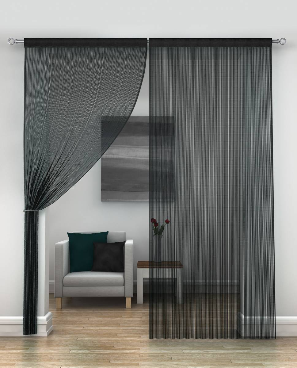 Black String Curtains Per Pair Net Curtain 2 Curtains