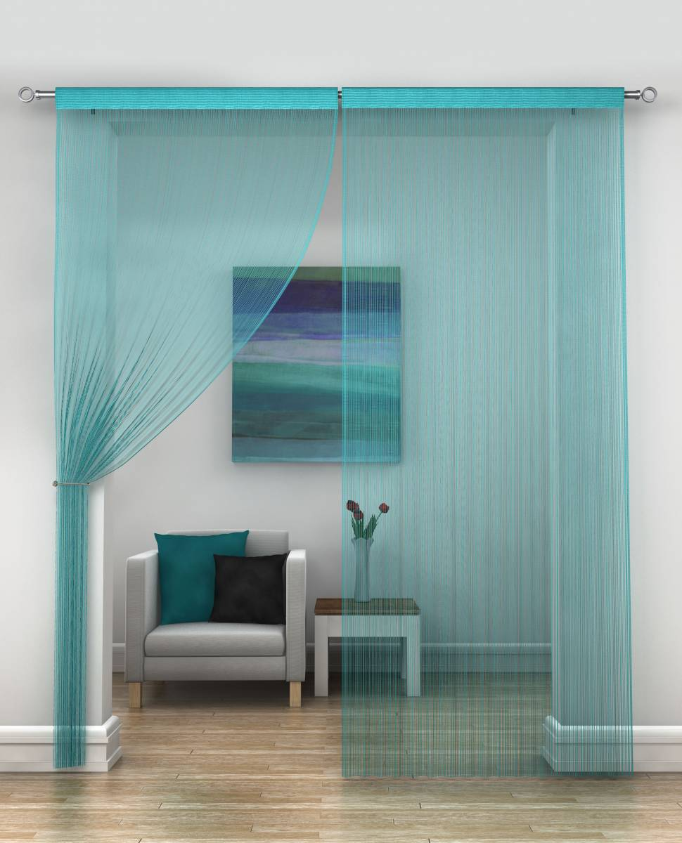 TURQUOISE STRING CURTAINS PRICED PER PAIR