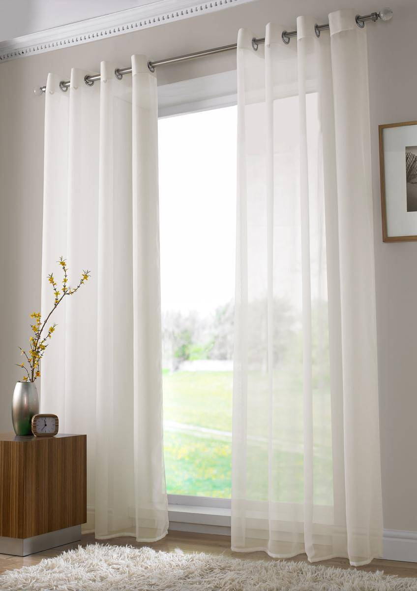 Ivory Ringtop Voile Panels Last Pair 90 Inch Drop X 59