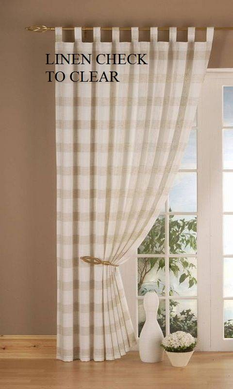 Linen Cream Check Tab Top Panels Clearance Net Curtain 2