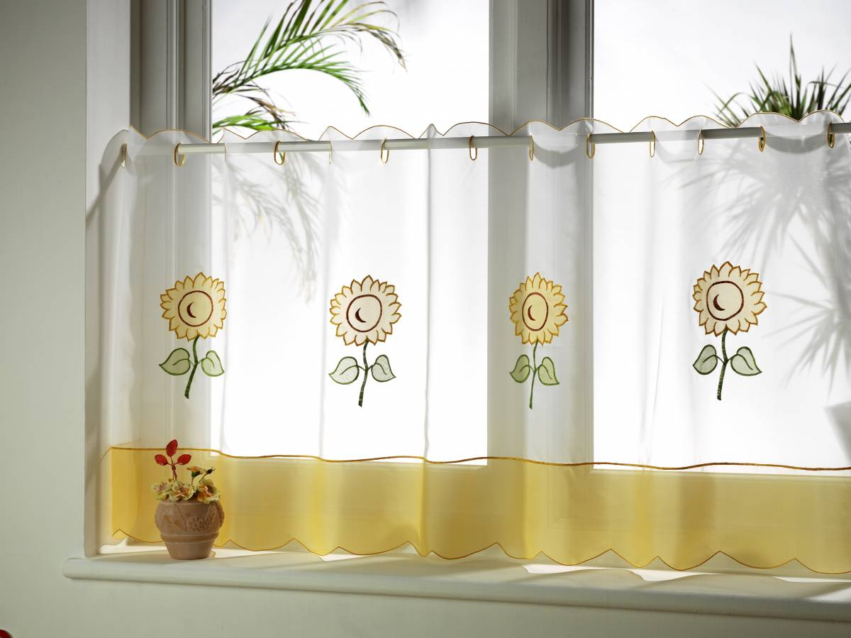 Sunflower cafe curtain voile panels net curtain 2 curtains - Cortinas para cocina ...
