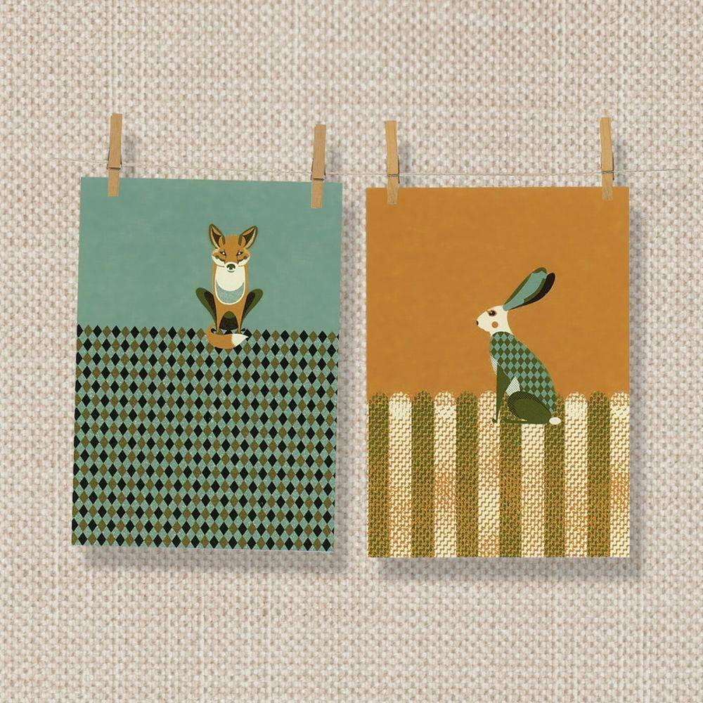 Tea Towel Kitchen Curtains: MAGPIE TEA TOWEL FOX & HARE