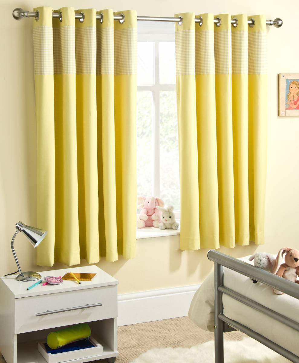 Childrens Yellow Sweetheart Curtains Thermal Eyelet Top Priced Per Pair Net Curtain 2 Curtains