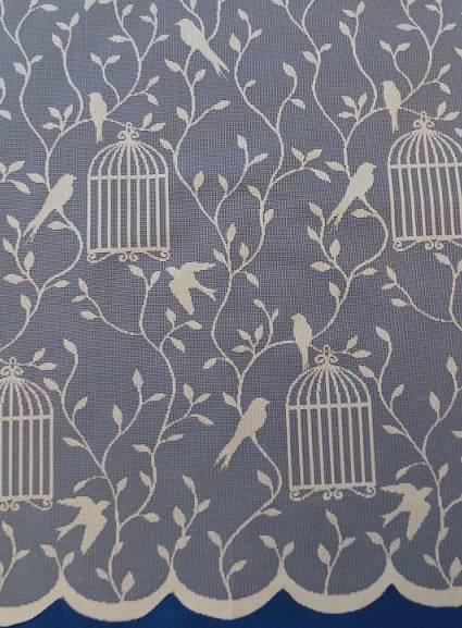Bird Cage White Net Curtain