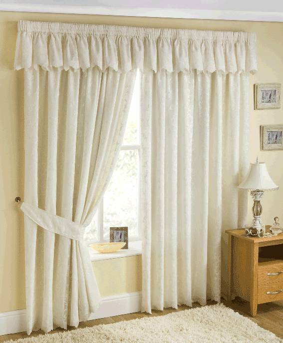 PATRICIA CREAM LACE LINED CURTAINS WITH PENCIL PLEAT