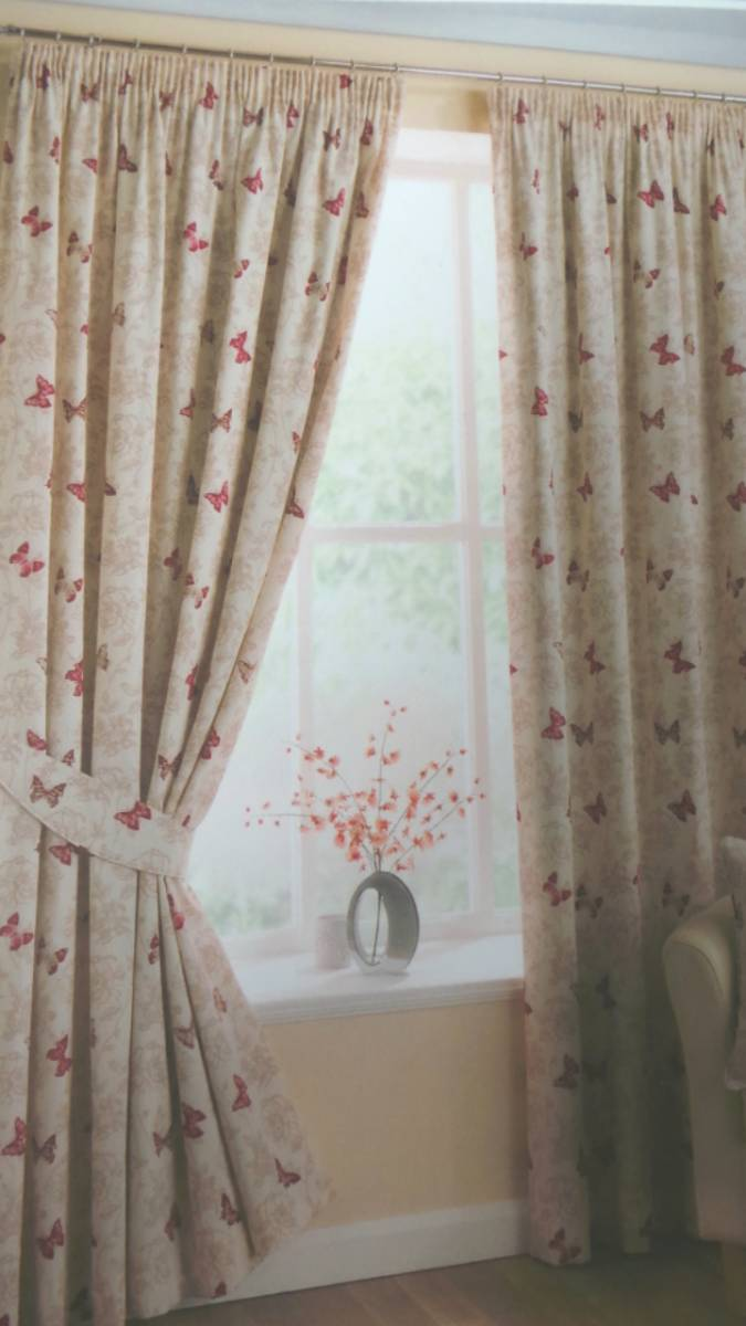 Marioposa By Belfield RED 100 COTTON CURTAINS EYELET OR PENCIL PLEAT OPTION FULLY LINED