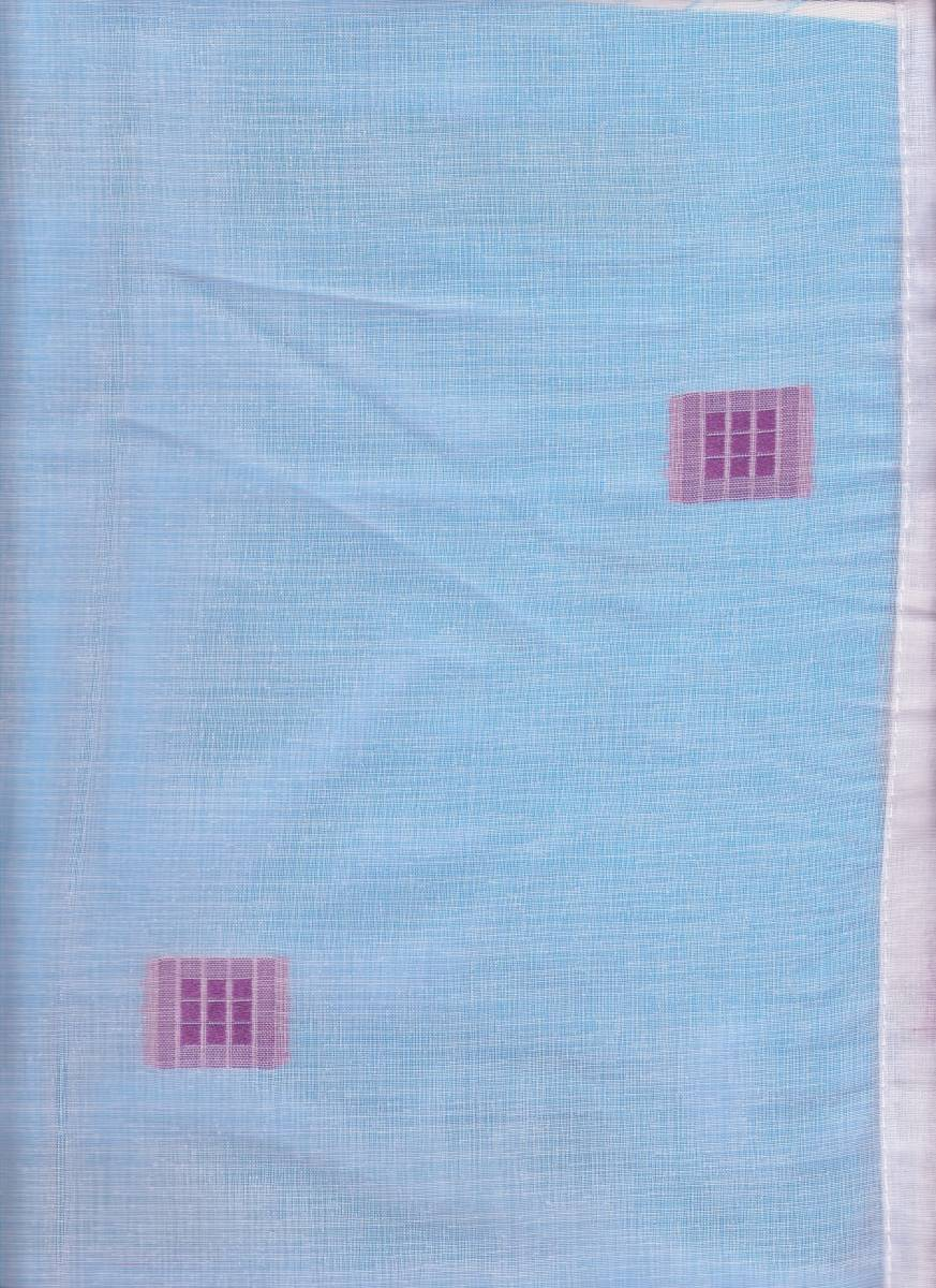 Jupiter White Voile Panel With Purple Embroidered Squares 36 Inch Drop X 60 Inch Wide Net