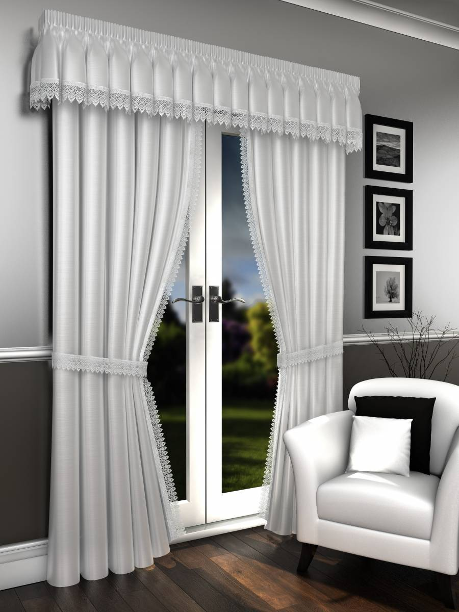 LORNA WHITE VOILE LINED CURTAINS PELMET SOLD SEPARATE - Net ... for Grey And White Voile Curtains  165jwn