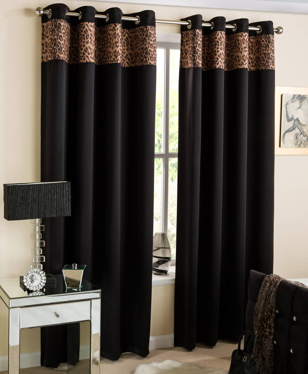 Africa Black Eyelet Top Ready Made Curtains Net Curtain
