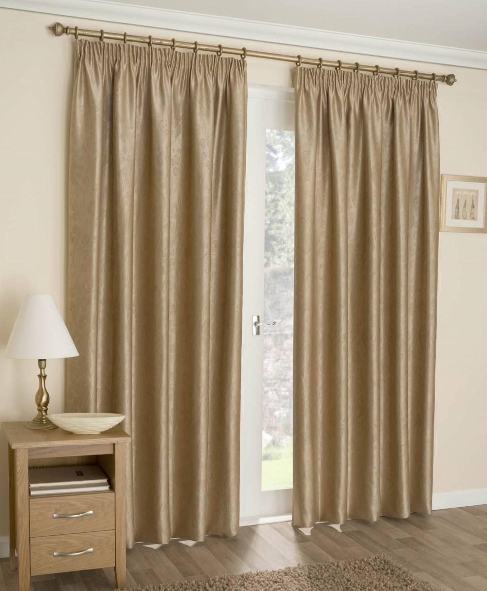 Amari Gold Pencil Pleat Curtains Net Curtain 2 Curtains