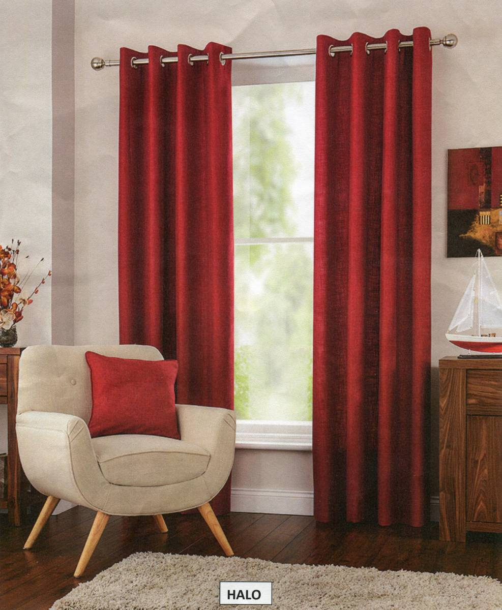 Lined Linen Drapes: HALO EYELET TOP CURTAINS TEXTURED LINEN FULLY LINED