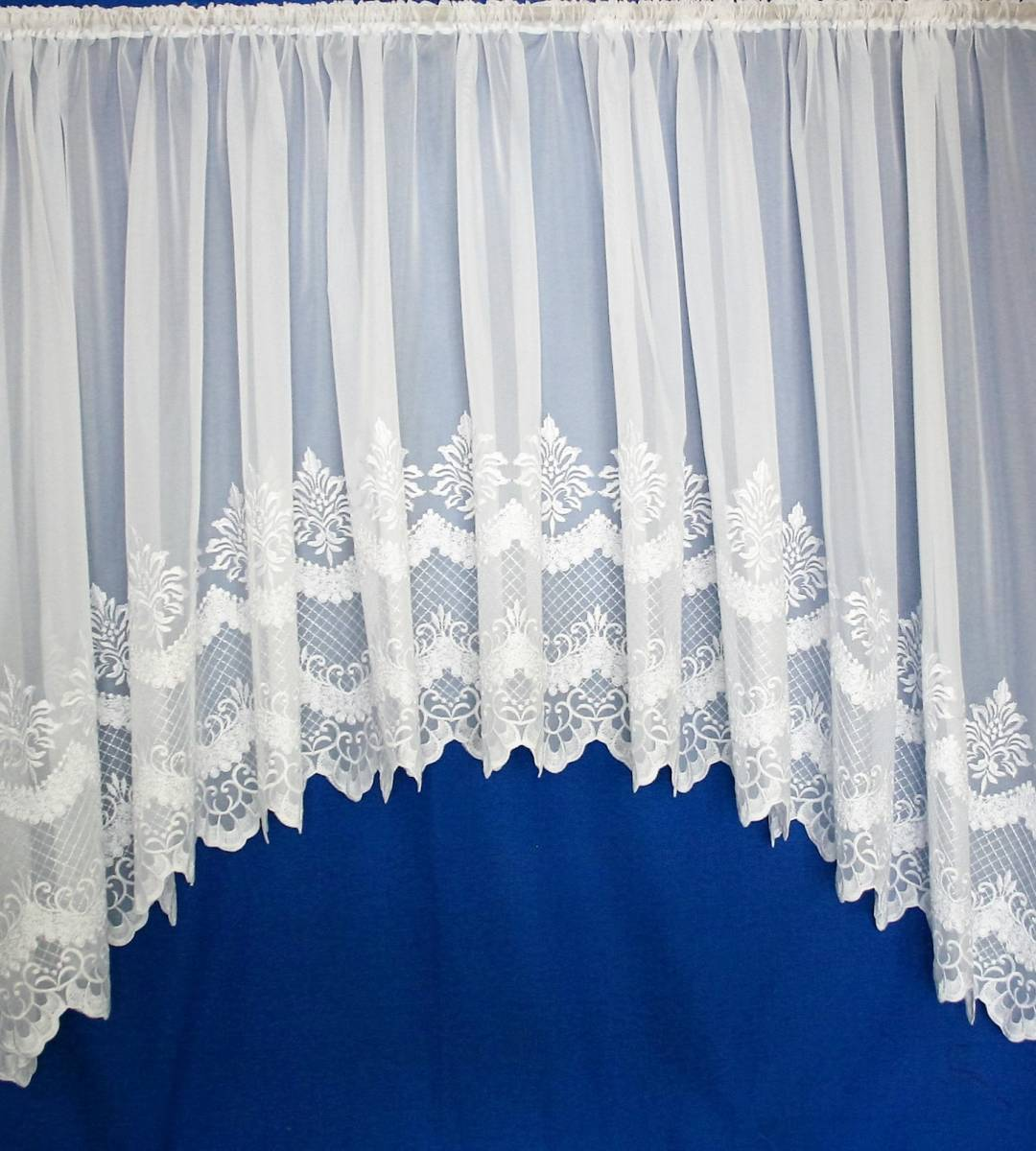 Cambridge White Embroidered Voile Jardiniere Net Curtain 2 Curtains