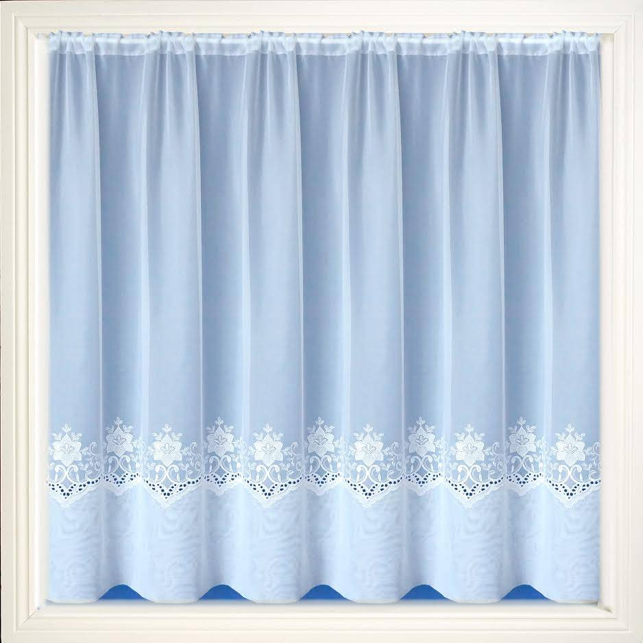 Chatham White Embroidered Voile Net Curtain 2 Curtains