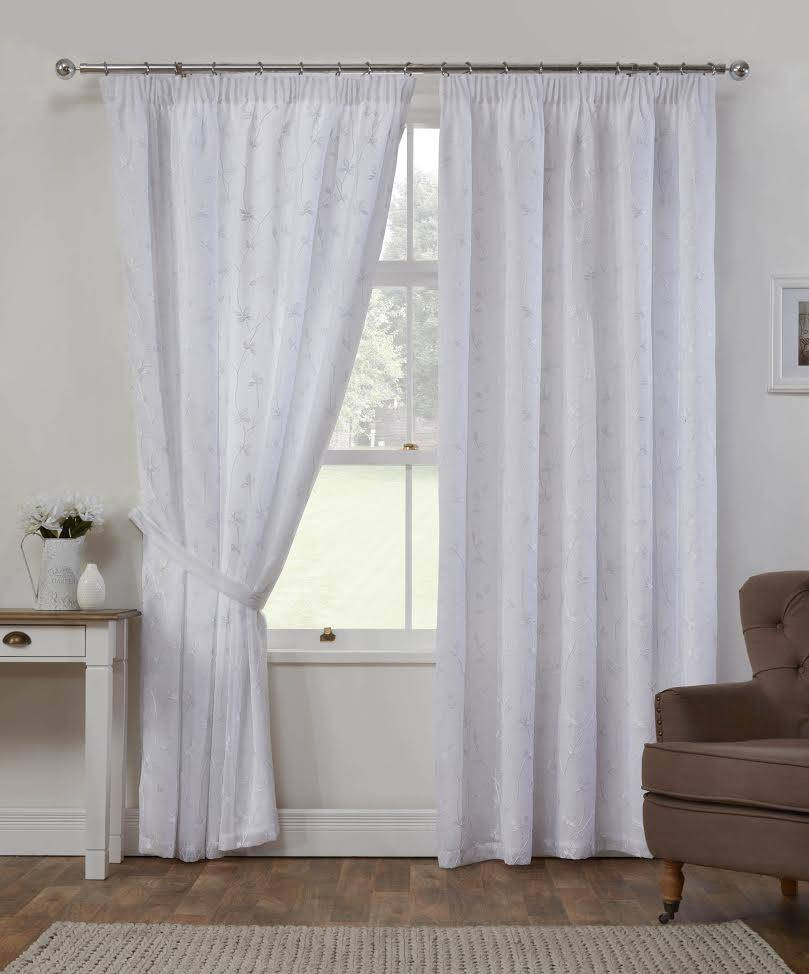 Cheltenham White Embroidered Curtains Net Curtain 2 Curtains
