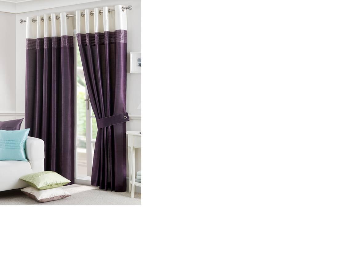 Lichfield aubergine eyelet top lined curtain - Net Curtain 2 Curtains