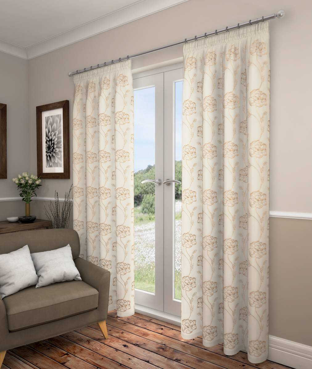 SWINDON CREAM VOILE WITH GOLD DESIGN LINED CURTAINS - Net Curtain 2 ...