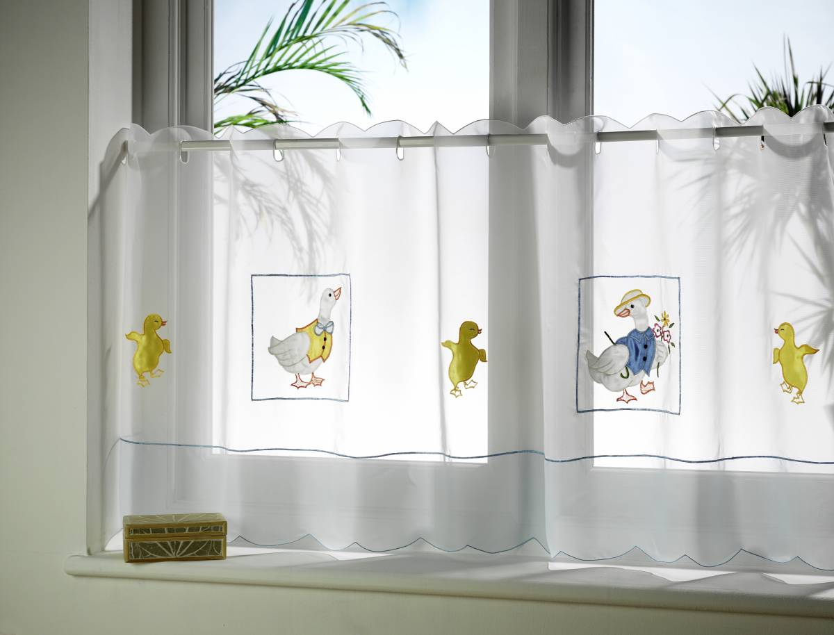 Ducks Embroidered Cafe Curtain Panels Each Curtain 59