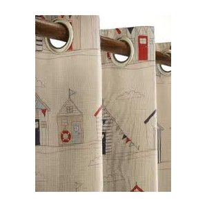 BEACH HUTS READY MADE CURTAINS EYELET TOP