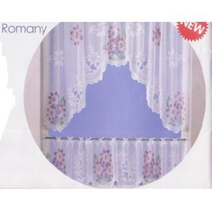 ROMANY LACE CURTAIN SET 59 inches  WIDE total drop 47 inches