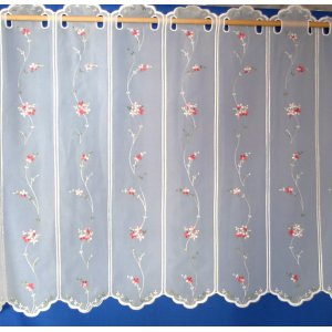 CHERRY BLOSSOM WHITE VOILE  CAFE CURTAIN