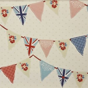 BUNTING EYELET TOP  LINED CURTAINS custom made free of charge to your exact drop