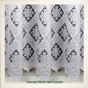 GEORGIA WHITE  NET CURTAIN: priced per metre