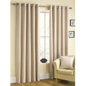 BELFIELD RICO COLOUR CHAMPAGNE  CHENILLE EYELET TOP CURTAINS PRICED PER PAIR
