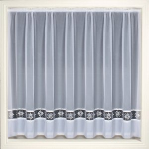 DARCEY WHITE NET CURTAIN WITH ORGANZA EMBROIDERED INSERT discontinued limited stock available