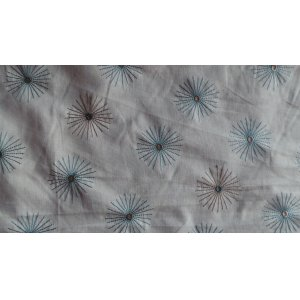 WHITE COTTON WITH PALE BROWN & BLUE EMBROIDERED FLOWER PRICE IS  PER METRE
