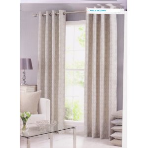 AMELIA IVORY FULLY LINED JACQUARD CURTAINS EYELET OR PENCIL PLEAT TOP