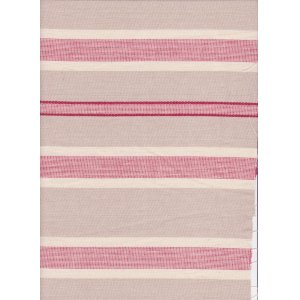 BEIGE COTTON FABRIC WITH RED STRIPES PRICE IS PER MTR