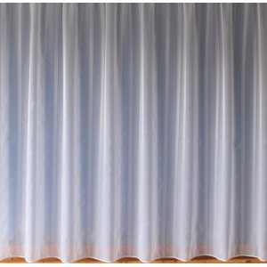 ALISON WHITE VOILE WITH A  STRAIGHT LEAD WEIGHTED BASE  WITH POLISHED YARN VERTICAL STRIPES