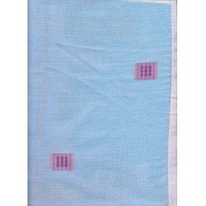 JUPITER WHITE VOILE  PANEL WITH PURPLE EMBROIDERED SQUARES 36 inch drop x 60 inch wide