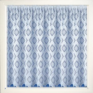 GEORGIA  WHITE ALLOVER DESIGN NET CURTAIN WITH POLISHED YARN