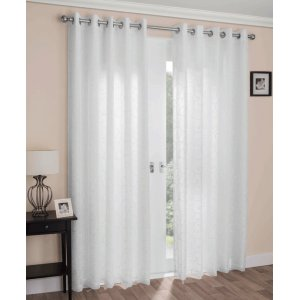 Galway eyelet lined curtains cotton look embroidered
