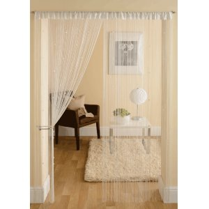 WHITE STRING CURTAINS WITH SQUARE BEADS PRICE PER PAIR