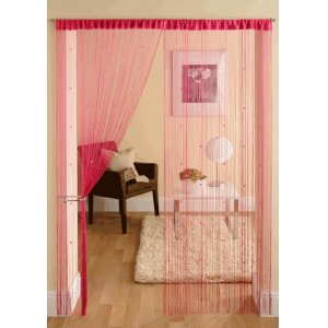 CERISE STRING CURTAINS WITH SMALL SQUARE BEADS PRICE IS PER PAIR
