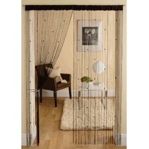 BLACK STRING CURTAINS WITH SMALL SQUARE BEADS PRICE IS PER PAIR