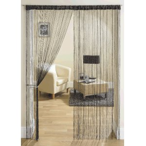 BLACK WITH SILVER LUREX STRING CURTAINS PRICE IS PER PAIR