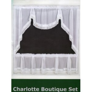 WHITE CHARLOTTE BOUTIQUE WINDOW SET will fit a window width upto 122cm